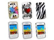 Kit Me Out US Hard Clip-on Case Pack for Samsung Galaxy Pocket S5300 - Coloured Butterfly & Tattoo Heart & Vertical Black/White Zebra