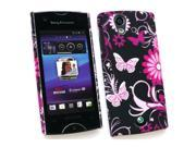 Kit Me Out USA Plastic Clip-on Case for Sony Ericsson Xperia Ray (ST-18i) - Pink Garden