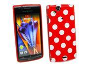Kit Me Out US IMD TPU Gel Case for Sony Ericsson Xperia Arc / Arc S X12 - Red, White Polka Dots