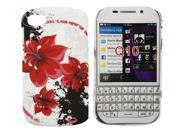 Kit Me Out US Hard Clip-on Case + Screen Protector with MicroFibre Cleaning Cloth for BlackBerry Q10 - Oriental Flowers