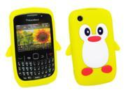 Kit Me Out US Silicon Skin + Screen Protector with MicroFibre Cleaning Cloth for BlackBerry 8520 / 9300 Curve 3G - Yellow / White Cute Penguin Design
