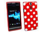 Kit Me Out US IMD TPU Gel Case + Screen Protector with MicroFibre Cleaning Cloth for Sony Xperia S LT26i - Red, White Polka Dots