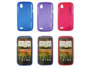 Kit Me Out US TPU Gel Case Pack for HTC Desire V - Blue & Purple & Hot Pink S Line Wave Pattern