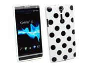 Kit Me Out US IMD TPU Gel Case + Screen Protector with MicroFibre Cleaning Cloth for Sony Xperia S LT26i - White, Black Polka Dots