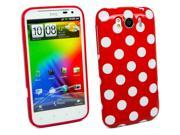 Kit Me Out US IMD TPU Gel Case for HTC Sensation XL - Red, White Polka Dots