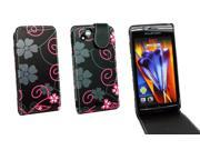 Kit Me Out US PU Leather Flip Case for Sony Xperia Arc / Arc S X12 - Black / Pink Floral Flowers