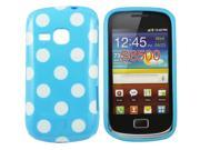 Kit Me Out US IMD TPU Gel Case + Screen Protector with MicroFibre Cleaning Cloth for Samsung Galaxy Mini 2 S6500 - Blue / White Polka Dots