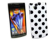 Kit Me Out US IMD TPU Gel Case for Sony Ericsson Xperia Arc / Arc S X12 - White, Black Polka Dots