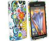 Kit Me Out US IMD TPU Gel Case for Sony Ericsson Xperia Arc / Arc S X12 - Multicoloured Circles With Flowers