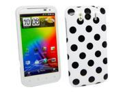 Kit Me Out US IMD TPU Gel Case + Screen Protector with MicroFibre Cleaning Cloth for HTC Sensation XL - White, Black Polka Dots