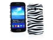 Kit Me Out US Hard Clip-on Case + Screen Protector with MicroFibre Cleaning Cloth for Samsung Galaxy Ace 3 S7272 - Black / White Zebra