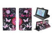 Kit Me Out US PU Leather Printed Side Flip + Screen Protector with MicroFibre Cleaning Cloth for Nokia Lumia 520 - Black / Pink Garden