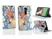 Kit Me Out US PU Leather Printed Side Flip + Screen Protector with MicroFibre Cleaning Cloth for LG G2 D802 - Multicoloured Circles With Flowers
