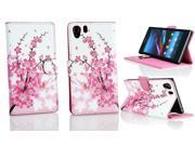 Kit Me Out US PU Leather Printed Side Flip + Screen Protector with MicroFibre Cleaning Cloth for Sony Xperia Z1 - White / Pink Blossom