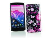 Kit Me Out US IMD TPU Gel Case + Screen Protector with MicroFibre Cleaning Cloth for LG Google Nexus 5 E980 - Black / Pink Garden Flowers