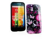 Kit Me Out US IMD TPU Gel Case + Screen Protector with MicroFibre Cleaning Cloth for Motorola Moto G - Black / Pink Garden Flowers