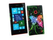 Kit Me Out US Hard Clip-on Case + Screen Protector with MicroFibre Cleaning Cloth for Nokia Lumia 525 - Black Graffiti Butterfly