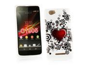 Kit Me Out US IMD TPU Gel Case + Screen Protector with MicroFibre Cleaning Cloth for Sony Xperia M - White / Red / Black Tattoo Heart