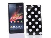 Kit Me Out US IMD TPU Gel Case + Screen Protector with MicroFibre Cleaning Cloth for Sony Xperia M - Black / White Polka Dots