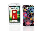 Kit Me Out US IMD TPU Gel Case + Screen Protector with Microfiber Cleaning Cloth for LG L70 - Multicolored / Black Retro Mayhem