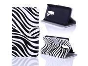 Kit Me Out US PU Leather Printed Side Flip + Screen Protector with Microfiber Cleaning Cloth for LG G2 MINI - Black / White Zebra