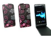 Kit Me Out US PU Leather Flip Case + Screen Protector with MicroFibre Cleaning Cloth for Sony Xperia S - Black / Pink Floral Flowers
