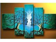 Wieco Art-100% Hand-painted Free Shipping Wood Framed on the Back Oil Wall Art Blue Tree Human Body Home Decoration Landscape Oil Painting on Canvas 5pcs/set