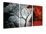 Wieco Art the Cloud Tree Canvas Print for Abstract Painting Modern Canvas Wall Art for Wall Decor 12x16inchx3pcs AB3006M