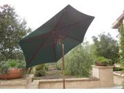 7ft wooden market umbrella with tilt mechanism - Hunter Green