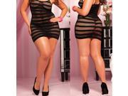 Chubby Women Lingerie Dress Plus Size Sexy Clairvoyant Fishnet Babydoll-Plus Size