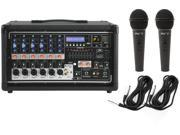 Peavey PVi 6500 Powered Mixer 400W 6-channel with 6 Inputs and FX w/ 2 Mics and Cables