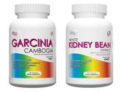 Garcinia Cambogia-Fast Flat Belly Diet Garcinia Supplement, 120 Capsules, PLUS White Kidney Bean Extract- 1000mg Per Serving, 200 Capsules, Carb Blocker and Appetite Suppressant For Compete Weightloss