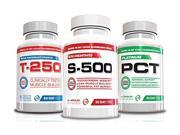 Best Muscle Building Stack-S-500,T-250, Platinum PCT, 3 Bottles, 30 Day Supply,Holiday Gifts,Powerful Muscle Building Supplements
