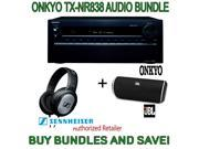 Onkyo TX-NR838 7.2-Channel Network A/V Receiver, Plus JBL Flip Portable Wireless Bluetooth Speaker and Sennheiser Stereo Headphones