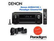 Denon AVRX4100W 7.2 Network A/V Receiver with Wi-Fi and Bluetooth + Paradigm Cinema 100 CT