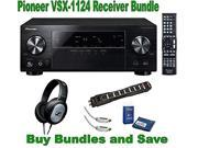 Pioneer VSX-1124 7.2-Channel Network A/V Receiver + Sennheiser HD201 Headphones + Monster Power Cable, HDMI and Screen Clean Bundle