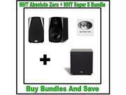 NHT Absolute Zero Bookshelf Speakers (Pair) + NHT Super 8 110-Watt Powered Subwoofer