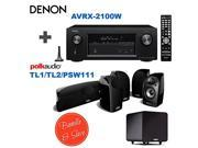 Denon AVR-X2100W 7.2 Channel Full 4K Ultra HD A/V Receiver with Bluetooth and Wi-Fi + 4 Polk Audio TL 1 Satellite Speaker (Each, Black) + Polk Audio TL2 Speaker Center Channel (Each, Black) + Polk Aud