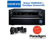Onkyo TX-NR3030 11.2-Ch Dolby Atmos Ready Network A/V Receiver w/ HDMI 2.0 + Paradigm Cinema 100 CT