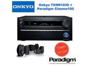 Onkyo TX-NR1030 9.2-Ch Dolby Atmos Ready Network A/V Receiver w/ HDMI 2.0 + Paradigm Cinema 100 CT