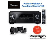 Pioneer VSX-824 5.2-Channel Network A/V Receiver (Black) + Paradigm Cinema 100 CT