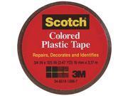 "3M Scotch, 190BRN, 3/4"" x 125"", Brown, Colored Plastic Tape"