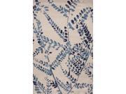 Wool Blue Ivory Floral Pattern Plush Pile Rug (2' x 3')