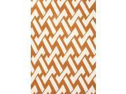 "Polypropylene Orange Ivory Geometric Pattern Durable Rug (3' 6"" x 5' 6"")"