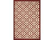 "Polypropylene Red Ivory Geometric Pattern Durable Rug (5' x 7' 6"")"