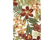 "Polypropylene Red Green Floral Pattern Durable Rug (7' 6"" x 9' 6"")"