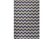 Wool Blue Ivory Geometric Pattern Easy Care Rug (5' x 8')
