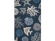 "Wool Blue Ivory Coastal Pattern Plush Pile Rug (3' 6"" x 5' 6"")"