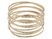 JOTW 2 Sets of Goldtone Intertwined Spring Style Bangle Bracelet