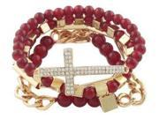 2 Sets of of Ladies Burgandy with Goldtone Bundle of 3 Piece Iced Out Cross Cuban Link Chain & Lock Beaded Stretch Bracelet